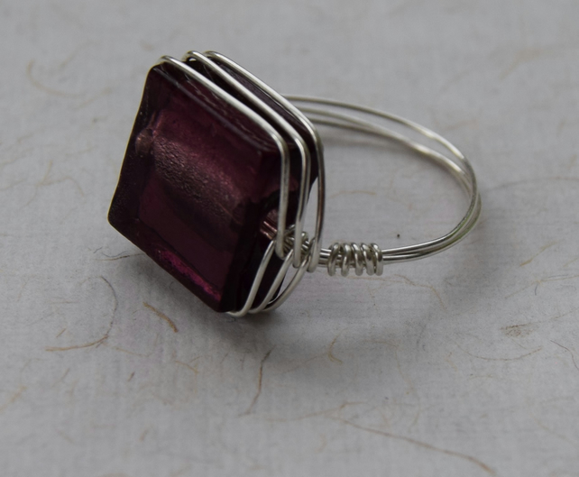 Sterling Silver and Purple Glass Bead Herringbone Ring