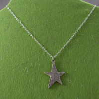 Embossed Star Pendant in Fine Silver witha Sterling Silver Chain