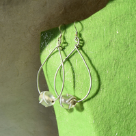 Sterling Silver and White Dash Glass Bead Teardrop Earrings