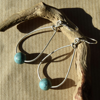 Turquoise Gemstone and Sterling Silver Teardrop Earrings
