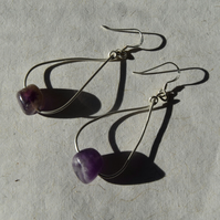 Amethyst and Sterling Silver Teardrop Earrings