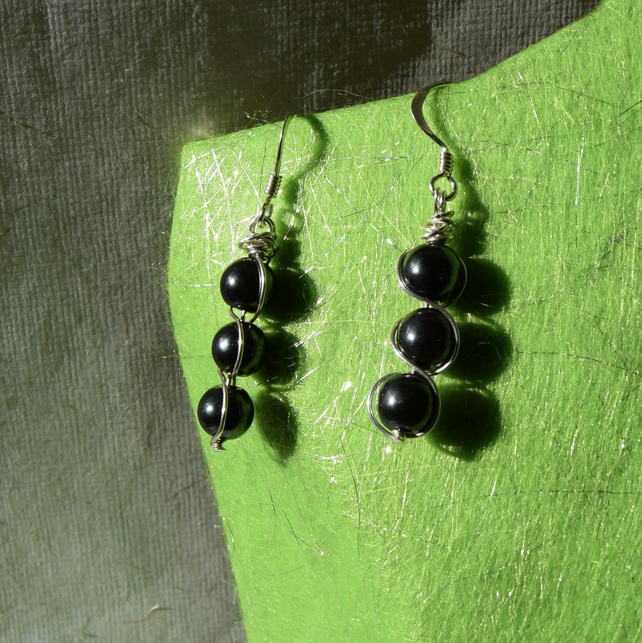Haematite and Sterling Silver Spiral Earrings