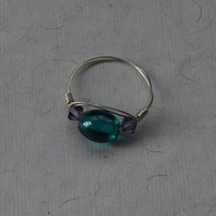 Blue Glass and Sterling Silver Ring Size O