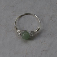 Jade, Sparkly Glass and Sterling Silver Ring Size O