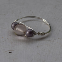 Rose Quartz, Glass Bead and Sterling Silver Ring Size P