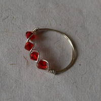 Sparkly Red Bead and Sterling Silver Ring size N