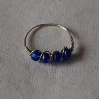 Sterling Silver and Blue Bead Ring Size Q