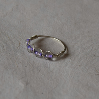 Swirling Sterling Silver and Purple Bead Ring Size P