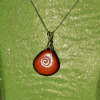 Ethical Tagua Nut and Sterling Silver Pendant in Burnt Orange with Chain