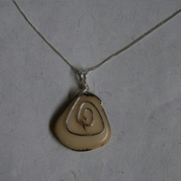 Alluring Handcrafted Silver Spiral Stained Tagua Pendant and Necklace