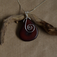 Handcut, Polished and Dyed Tagua Nut Pendant with Chain