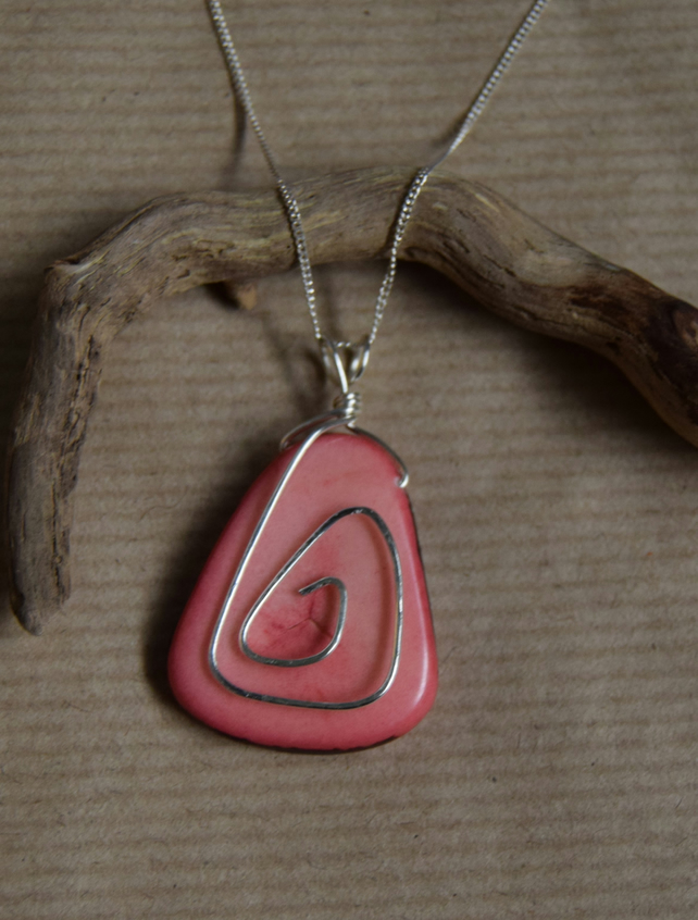 Pink Dyed Tagua Nut Pendant with Sterling Silver Swirl and Chain