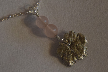 Pure Silver Weigela Leaf with Twin Quartz Beads on a Sterling Silver Necklace