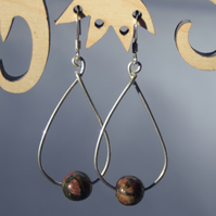 Unakite and Sterling Silver Teardrop Earrings