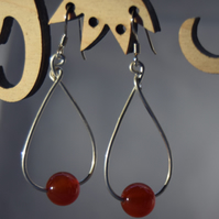 Red Aventurine and Sterling Silver Teardrop Earrings