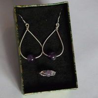 Amethyst Sterling Silver and Swarovski Crystal Earring and Ring Set