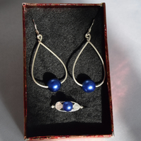 Royal Blue Czech Glass and Swarovski Crystal Jewellery Set