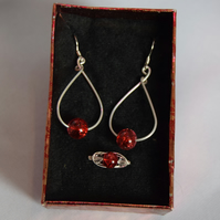 Red Cracked Glass Swarovski Crystal and Sterling Silver Jewellery Set