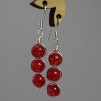 Berry Red Cracked Glass and Sterling Silver Swirl Drop Earrings