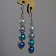 Blue Czech Glass and Sterling Silver Spiral Drop Earrings