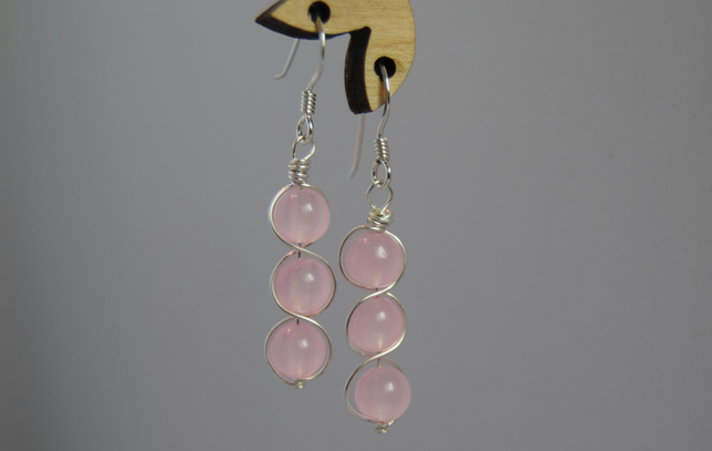 Rose Quartz and Sterling Silver Swirl Drop Earrings