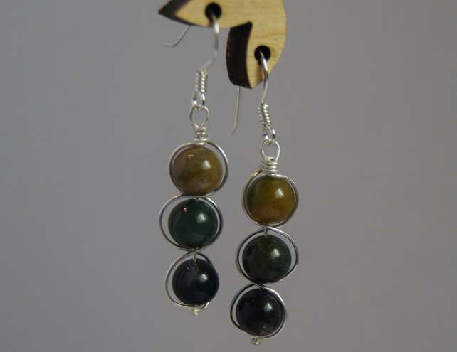 Green Indian Agate and Sterling Silver Swirl Drop Earrings