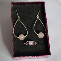 Rose Quartz Swarovski Crystal and Sterling Silver Jewellery Set