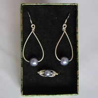 Steel Gray Czech Glass Swarovski Crystal and Sterling Silver Jewellery Set