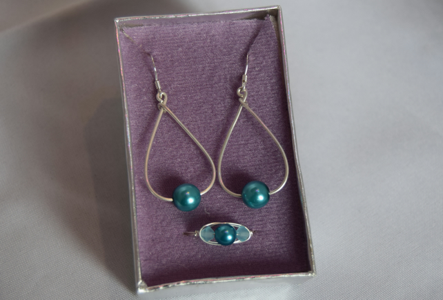 Turquoise Czech Glass Swarovski Crystal and Sterling Silver Jewellery Set