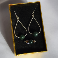 Green Indian Agate Swarovski Crystal and Sterling Silver Jewellery Set