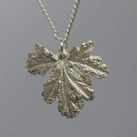 Geranium Leaf Pendant in Fine Silver on a Sterling Silver Chain