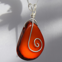 Ethical Burnt Orange Tagua Nut Pendant with Sterling Silver Swirl and Chain