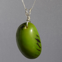 Lime Green Tagua Nut End Slice Pendant with Sterling Silver Wire and Chain