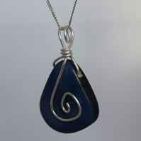 Deep Blue Ethical Tagua Nut Pendant with Sterling Silver Chain