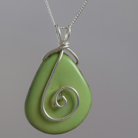 Mint Green Ethical Tagua Nut Pendant with Sterling Silver Chain