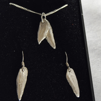 Fine and Sterling Silver Jewellery Set Made From Real Leaves