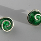Green Cracked Glass and Sterling Silver Spiral Stud Earrings
