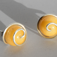 Yellow Jasper and Sterling Silver Spiral Stud Earrings