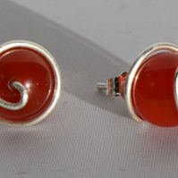 Red Agate and Sterling Silver Spiral Stud Earrings