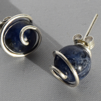 Sodalite and Sterling Silver Spiral Stud Earrings