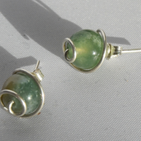 Green Agate and Sterling Silver Swirl Stud Earrings