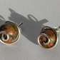Unakite and Stirling Silver Spiral Stud Earrings