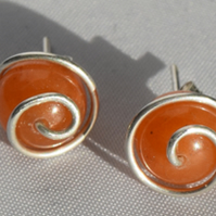 Orange Aventurine Gemstone Stud Earrings with a Sterling Silver Swirl