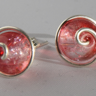 Red Cracked Glass and Sterling Silver Stud Earrings