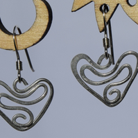 Sterling Silver Heart Swirl Earrings