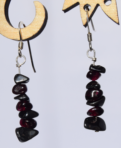 Recycled Haematite and Garnet Earrings