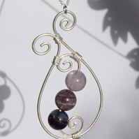 Amethyst and Sterling Silver Swirl Pendant with Sterling Silver Chain