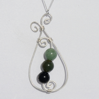 Green Gemstone and Sterling Silver Pendant with Sterling Silver Chain