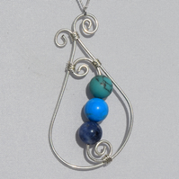 Turquoise and Sodalite Sterling Silver Swirl Pendant with Sterling Silver Chain