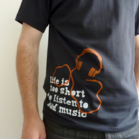 'Bad Music' - SMALL - black men's t-shirt